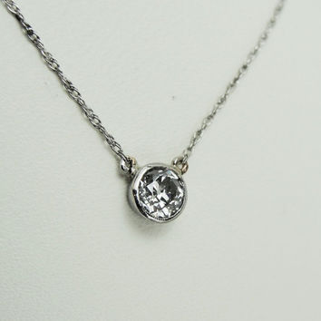 Antique 1/3ct Old Mine Cut Diamond Solitaire Necklace Pendant 14kt White Gold Bezel Set Mounting Bridal Wedding Jewelry