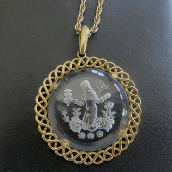 Crown Trifari Cameo Necklace, Glass Intaglio Cameo, Girl Picking Flowers, Butterfly, Vintage Cameo Jewelry