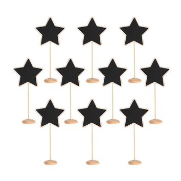 10Pcs/Set Mini Wooden Stars Shape Blackboard Chalkboard Stands Message Board creative wedding Party Table Card Decor