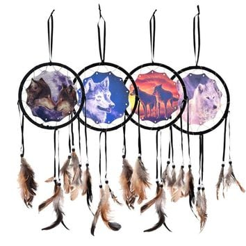1PC Wolf Dream catcher New Folk Art Feather Pendant  Gift For Home Decoration