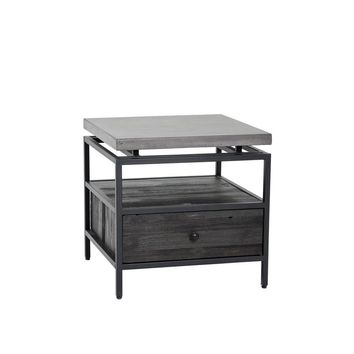 ORMEWOOD BLACK METAL FRAME-PINE WOOD DRAWER IN COFFEE BEAN FINISH WITH GREY CONCRETE TOP END TABLE