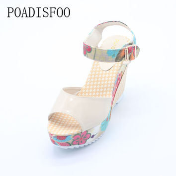 POADISFOO Women's Shoes Sandals Sexy High Wedge Heel  Sandals Sweet Cute Thick Crust Waterproof Flower Shoes .DDN-lx04