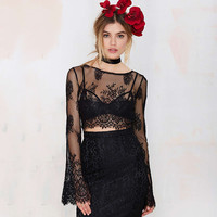 Black Mesh Embroidered Bell Sleeve Cropped Top