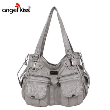 Angelkiss Brand PU Washed Handbags Women Shoulder Bags Hobos Handbag For Woman High Quality Messenger Bags Women Leather Handbag