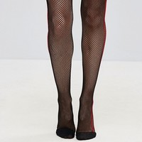 Fishnet Tights in Black with Red Side Stripe at asos.com