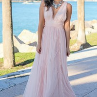 Dusty Blush Tulle Maxi Dress