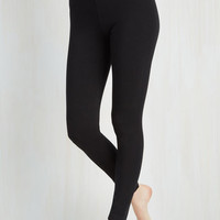 90s Long High Waist Simple and Sleek Leggings in Black