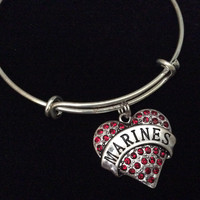 Red Crystal Heart Marine Charm Expandable Bracelet Adjustable Wire Bangle Gift USA Military Jewelry Trendy Stacking