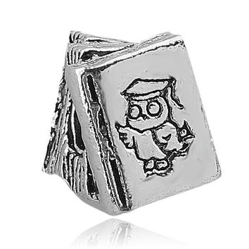 1PC Silver Study Books Big Hole Beads Charms fit European Pandora Style Charm Bracelets and Necklaces