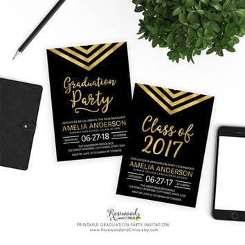 Graduation Party Printable, Printable Grad Party Invitation, Class of 2017 Graduation, Modern Graduation Invitation, Chevron Graduation