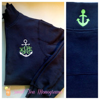 Critter Collar Anchor Monogram Quarter Zip Pullover