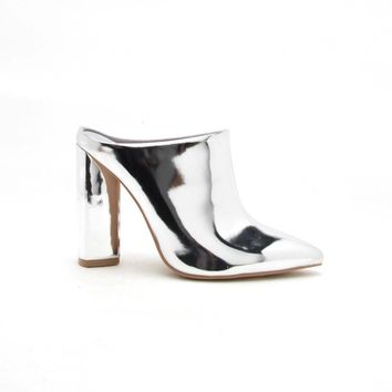 Miss-40 Silver Metallic Mules