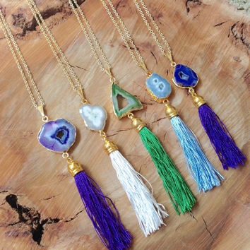 Tassel necklace. Druzy Tassel long layering Necklace. Agate stone druzy or solar quartz stone necklace w/ silk tassel on 30inch gold chain.