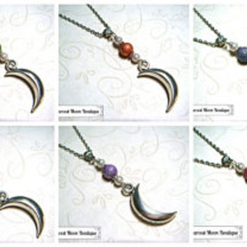 LIMITED EDITION Moon Necklace Wiccan Pagan Jewelry Celestial Moon Jewelry Handfasting Wedding Pendant Witchcraft Star Pagan Choose Color