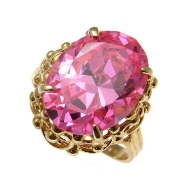 12MMX16MM OVAL PINK ICE SOLITAIRE RING SOLID 14K YELLOW GOLD