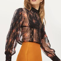 Roses Sheer Pintuck Blouse | Topshop
