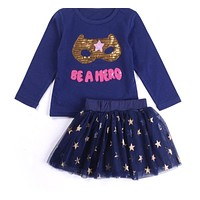 Baby Girl Clothes Set New Sequins Letter Long Sleeve T-Shirt + Stars Skirt 2PCS Girl Clothing Sets Kids Clothes