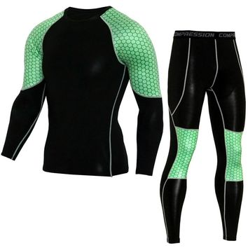 Men's Compression Run jogging Suits Clothes Sports Set Long t shirt And Pants Gym Fitness workout