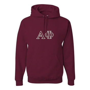 Alpha Phi Hooded Sweatshirt, Alpha Phi Pullover Hoody, Greek Apparel, Sorority Letters Clothing, Officially Licensed Product