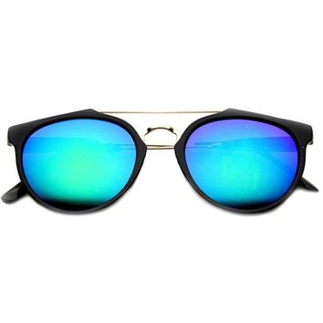 Retro Indie P3 Horned Rim Cross Bar Mirror Lens Sunglasses 9640