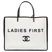 Chanel 2015 Like New Black and White Canvas Ladies First Tote Bag