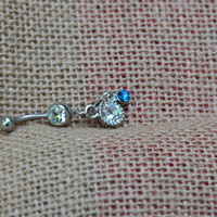 small dangle sparkle belly button ring 14 gauge surgical steel