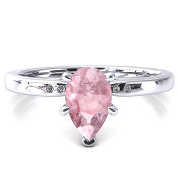Maise Pear Pink Sapphire 6 Prong Diamond Accent Engagement Ring