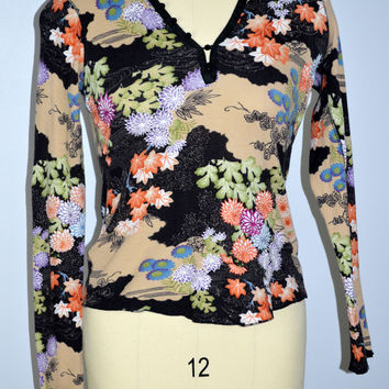 Lucky Brand Thermal Shirt Floral Size Medium