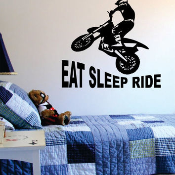 Eat Sleep Ride Dirtbike Moto X Design Sports Decal Sticker Wall Vinyl