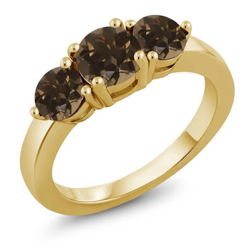 1.72 Ct Round Brown Smoky Quartz 18K Yellow Gold Plated Silver Ring