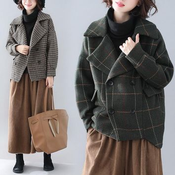 New Korean Autumn Winter Suit Woolen Coat OverSize Blazers
