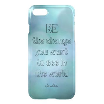 inspirational Gandhi quote blue deflector cases