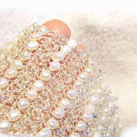 White pearl bracelet Sparkly seed beads Crochet wire cuff Delicate bridal pearl bracelet  Bridal Jewelry