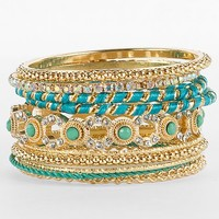 Women's Bright Bangle Bracelet Set in Green/Gold/Turquoise by Daytrip.