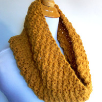 bulky knit seed stitch cowl scarf in mustard yellow - large warm and cozy textured woven look golden infinity circle scarflette neckwarmer
