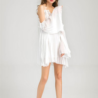 Lace Trim Pleated Chiffon Slip Dress -SheIn(Sheinside)