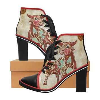 Taurus - Women's Zodiac Print Lace Up Canvas Ankle Boots