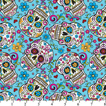 Fabric by the Yard - Folkloric Sugar Skulls on Turquoise Blue