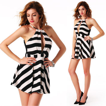 Stripe Backless Chiffon Splice Pleated Dress