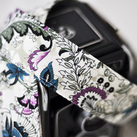 dSLR Camera Strap  - Cream, Teal, Plum Floral Paisley - Fall Fashion, Fall Accessories
