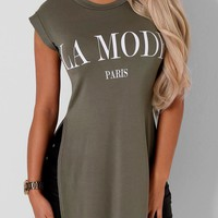 La Mode Paris Side Split Khaki T-Shirt | Pink Boutique