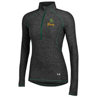 Baylor Bears Under Armour Womens Black/Green Twist Tech Long Sleeve 1/4 Zip Pullover