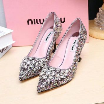 Prada Miu Miu Glitter Pumps With Crystals Multi - Best Deal Online