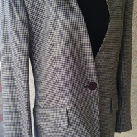 Jones New York blazer Women vintage size 6 rayon classic checked houndstooth one button cuff dark blue cream one button front classic