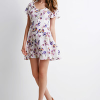 Buttoned Floral Print Dress - NEW ARRIVALS - 2000096151 - Forever 21 UK