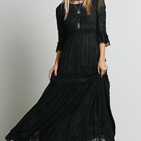Black Boho Embroidered Midi Dress
