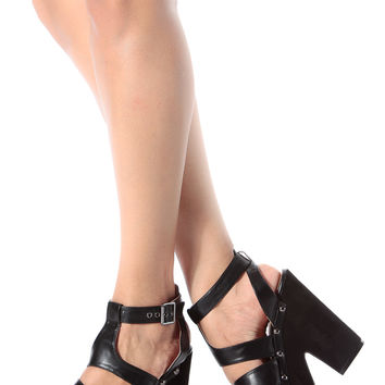 Black Faux Leather Strappy Chunky Platform Heels