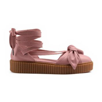 With Dusty Bag Rihanna Fenty Bow Creeper Sandal For Women, Leadcat Fashion Friar Brown Pink Nude Outdoor Fenty Shoes Sandals Eur 350
