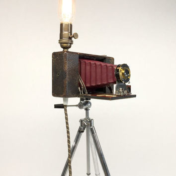 Ansco Camera, Tripod Floor Lamp, Camera Tripod Lamp, Antique Camera, Vintage Sunset Tripod, Industrial Floor Lamp, Vintage Floor Lamp