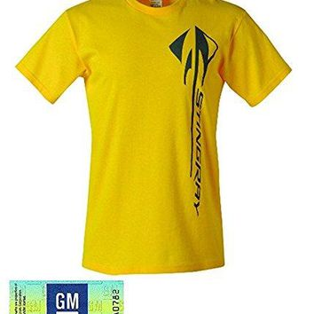 C7 Corvette Stingray Velocity Yellow Vertical Logo T-shirt (XX-Large)